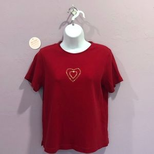 Classic Elements Streetwear Red Embellished Top